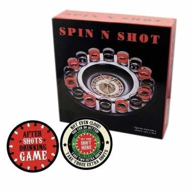 Drankspel/drinkspel shot roulette met after shots viltjes