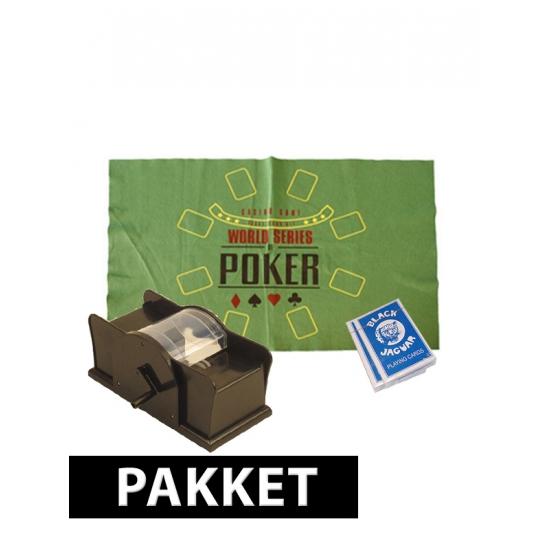 Poker speelmat kaarten en schudmachine