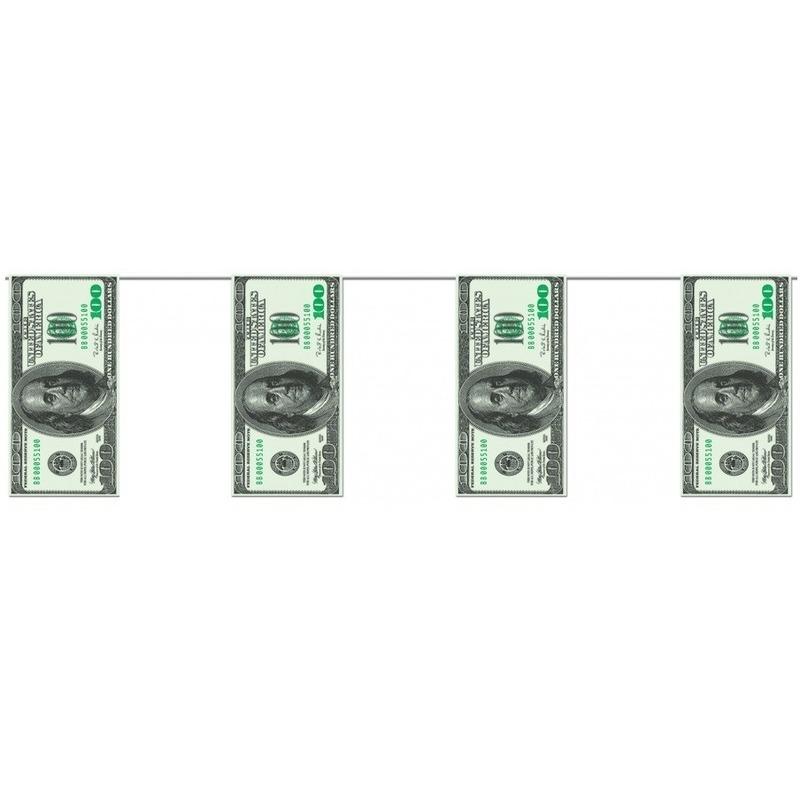2x stuks geld slingers met dollars van 4 meter