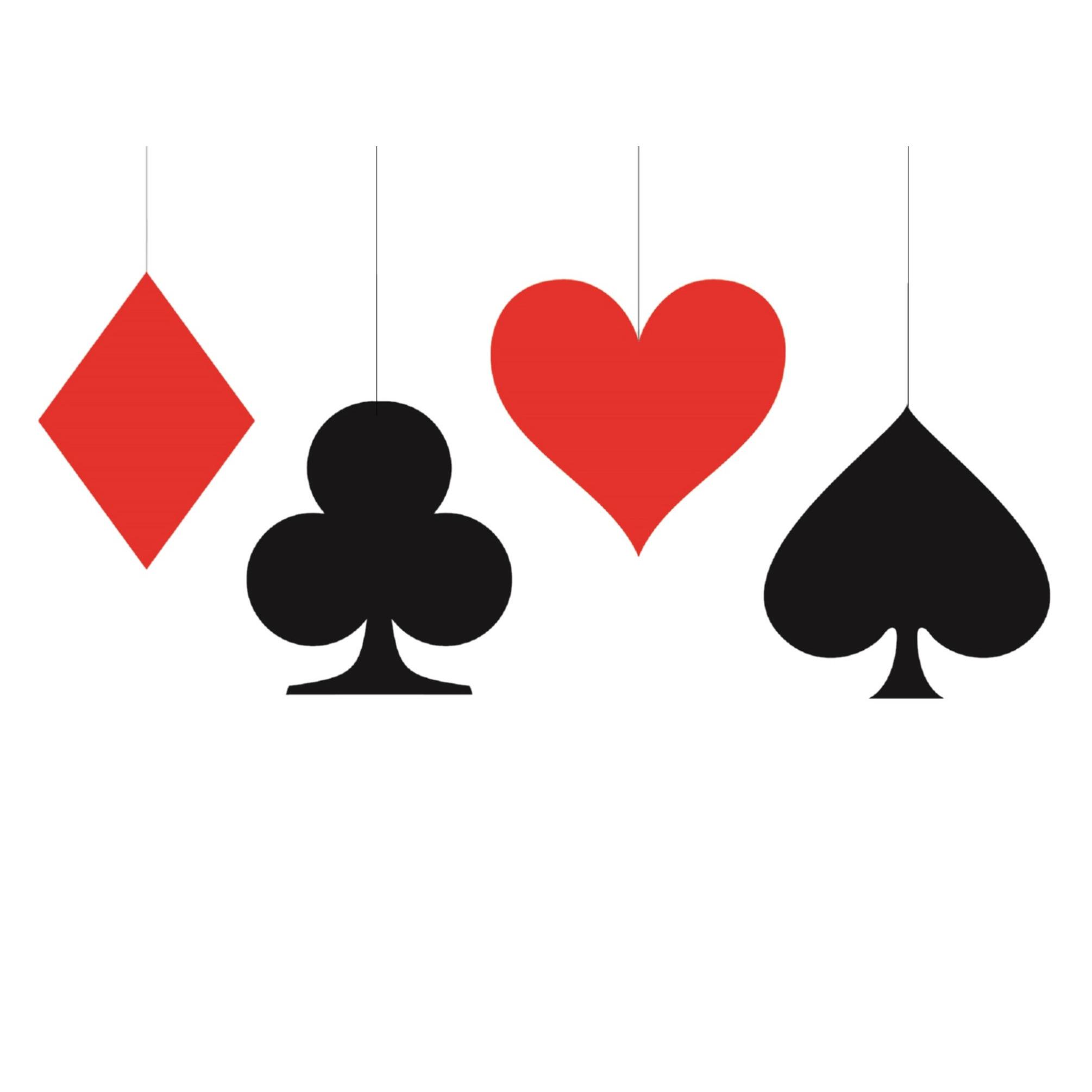 12x stuks kaartspel casino speelkaarten decoratie hangers