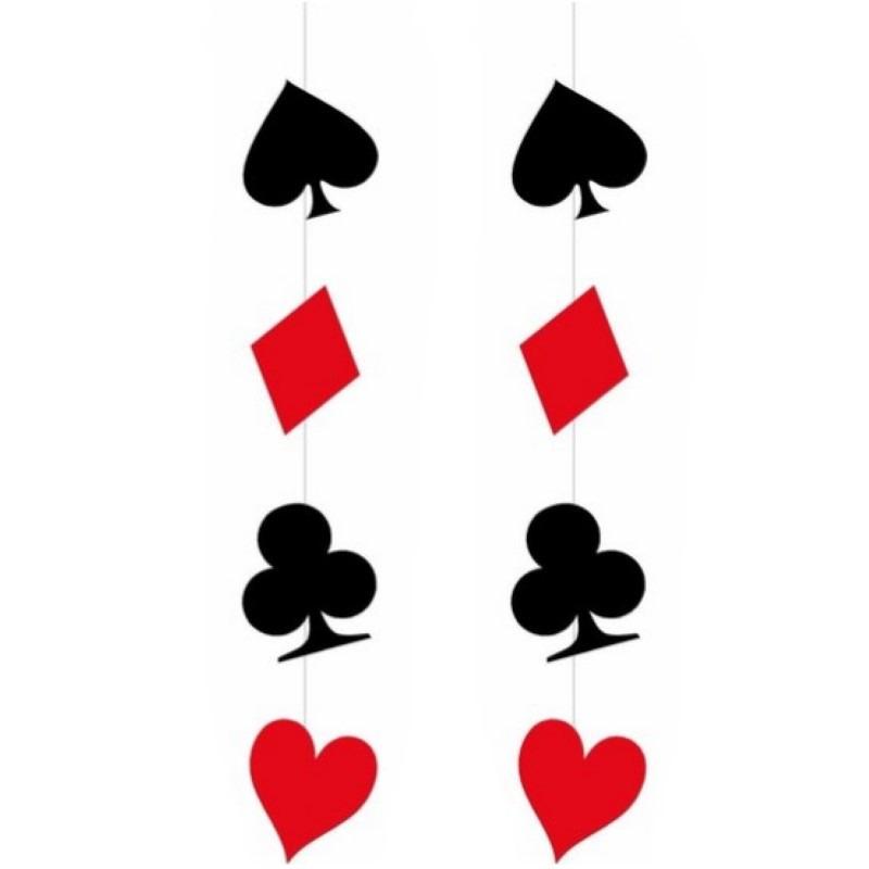 2x stuks hangdecoratie versiering casino speelkaarten 110 x 17 cm