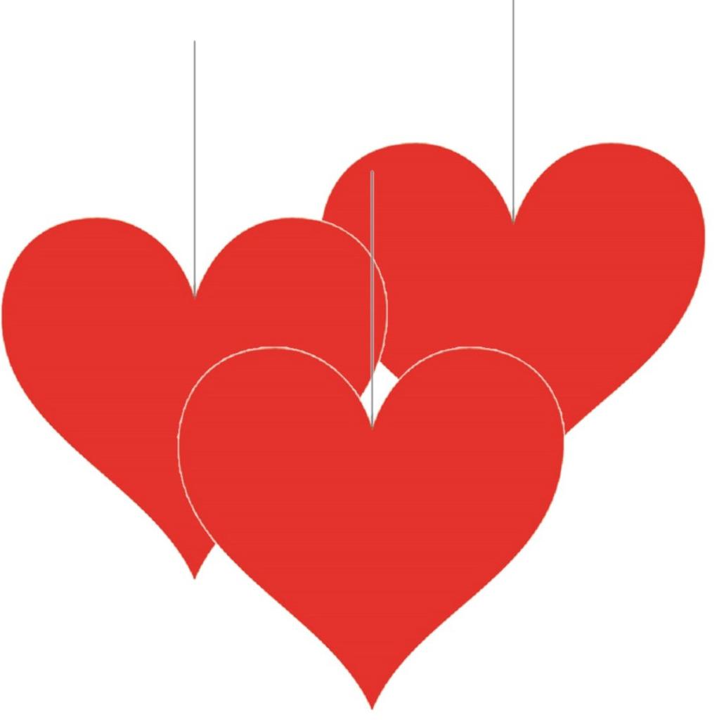 3x stuks hangversiering harten hartje 17 cm