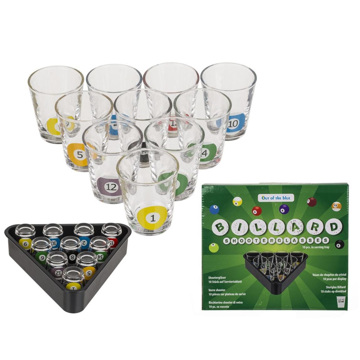 Drankspel drinkspel shotjes snooker met 10 glaasjes
